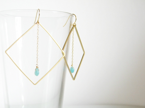 14k Gold Filled/16k・22k Gold Plated > Earrings - 16k Gold Plated Square Earrings/Amazonite -