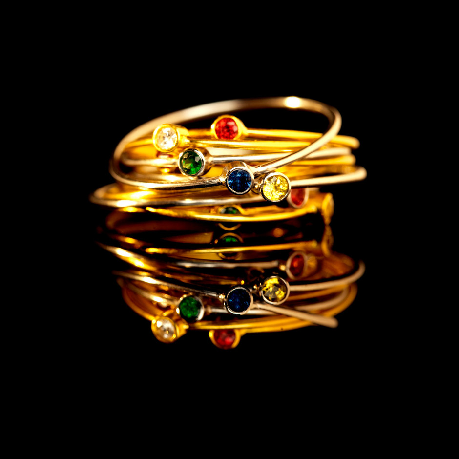Thin Stacking Rings Set of Three Delicate Gold Rings by artemer
