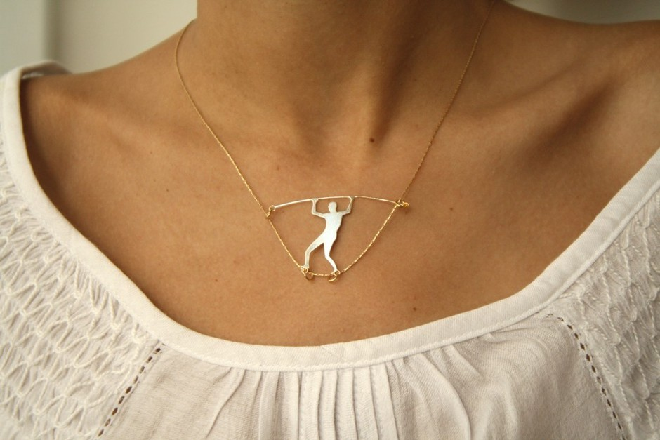 man walking on a wire gold PENDANT by WildThingStudio on Etsy
