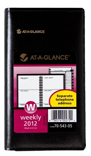 Amazon.com: AT-A-GLANCE Recycled Weekly Planner, 3 x 6 Inches, Black, 2012 (70-543-05): Office Products