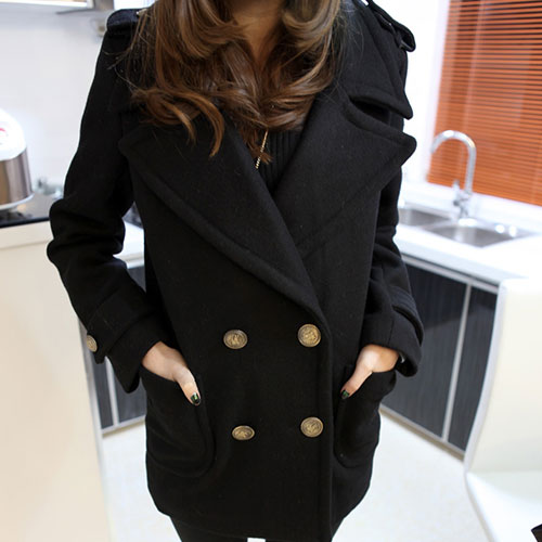 lulula-fashion shopping mall — [ghyxh3600846]Retro Gorgeous Pure Color Double Breast Lapel Worsted Coat
