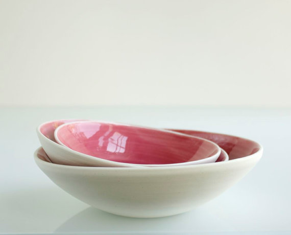 Raspberry Pink Nesting Bowl Small Set by SuiteOneStudio on Etsy