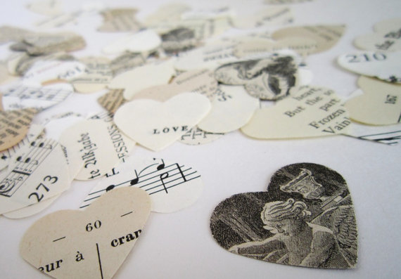 Wedding Confetti Vintage Paper Heart Confetti by TheLonelyHeart