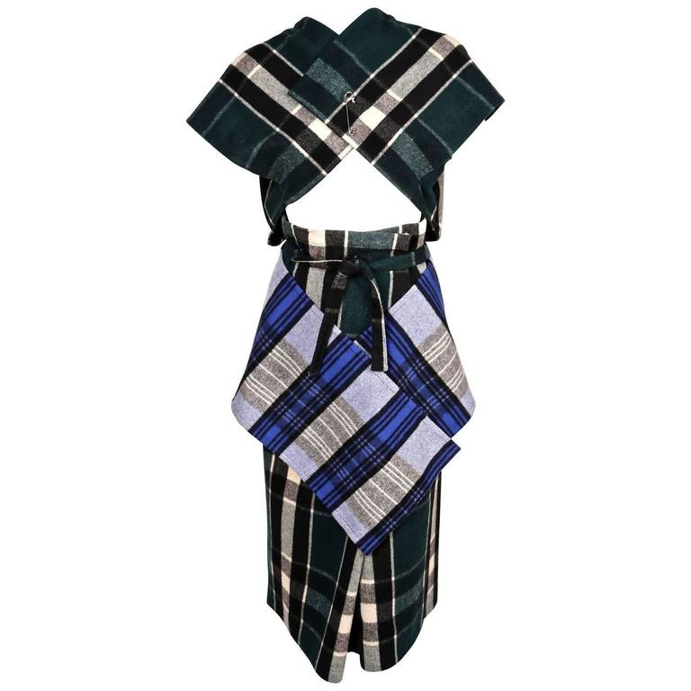 very rare 1984 COMME DES GARCONS plaid wool ensemble For Sale at 1stdibs