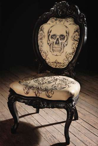Tattooed Furniture - Inked Leather Skull Chair