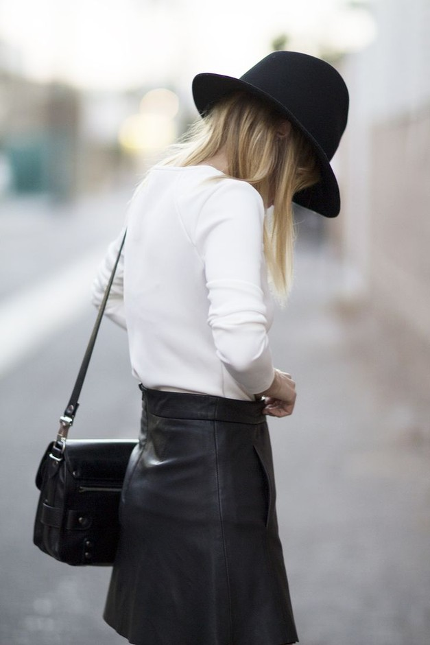 leather + wide brimmed hats   Fashion.   Pinterest