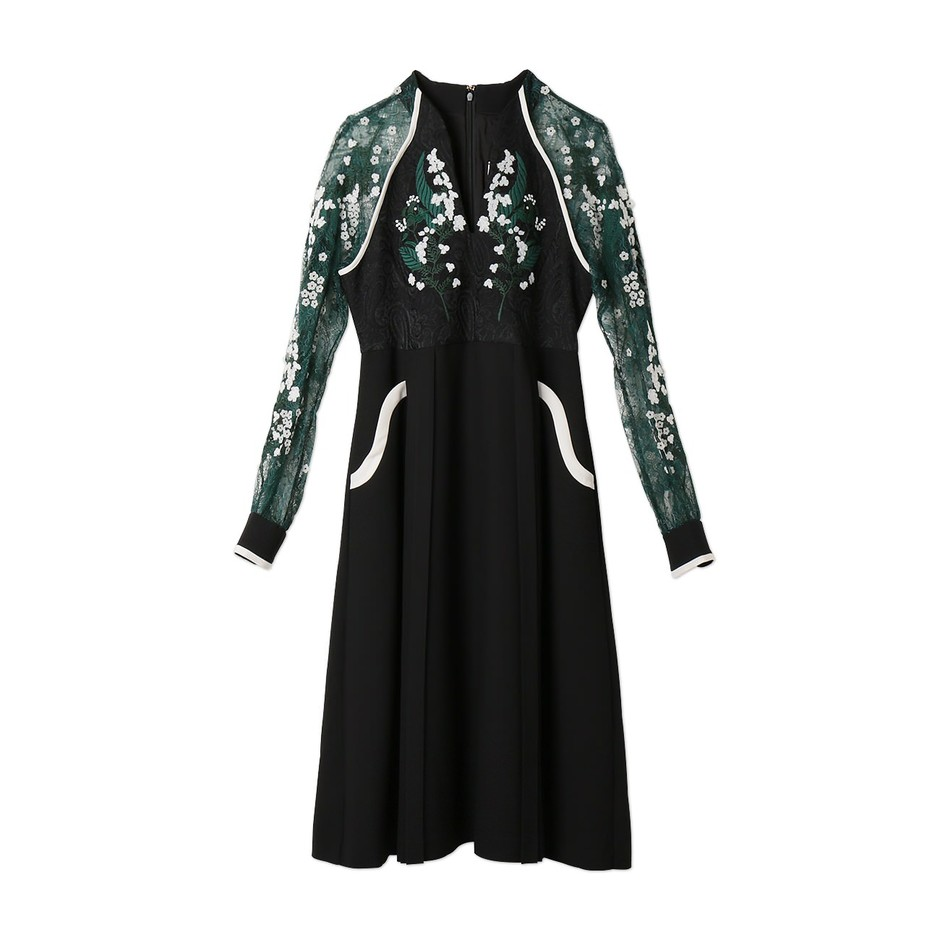 Embroidery Lace Sleeve Dress | mame