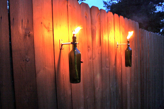 4 Green Wine Bottle Tiki Torches Outdoor by GreatBottlesofFire