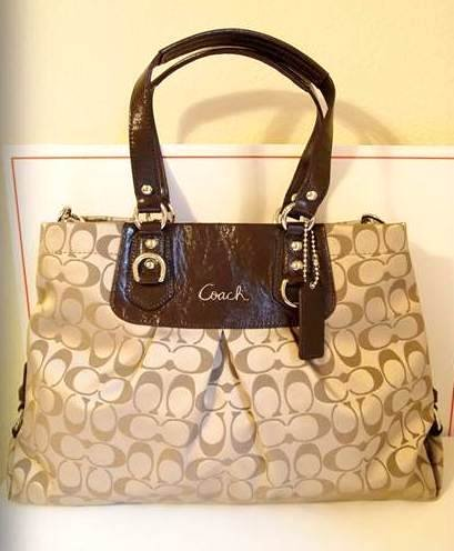 Amazon.com: Coach Signature Ashley Carrall Bussiness Satchel Bag Tote 15510 Khaki Mahogany: Clothing