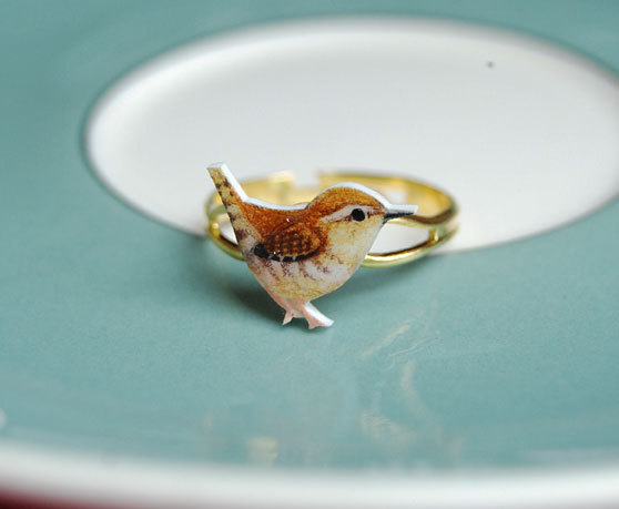 Hand drawn Wren ring by kirstinstride on Etsy