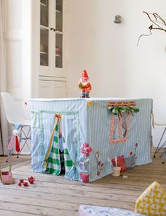 Tablecloth playhouse or fort. Store in a drawer when you're ... | kids
