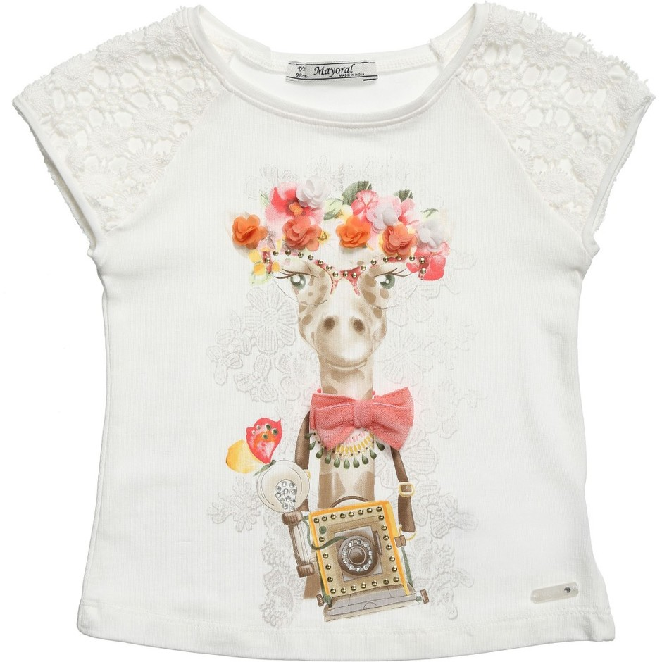 Mayoral - Giraffe Print T-Shirt with Lace Sleeves | Childrensalon