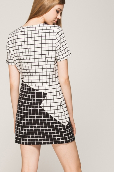Black and white checkered shift dress - FrontRowShop