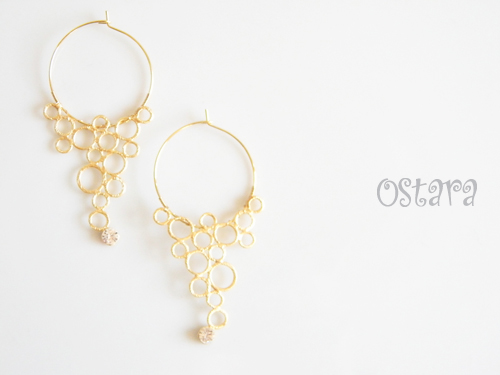 16K Gold Plated Bubble Foop Earrings,14k Gold Filled/16k・22k Gold Plated