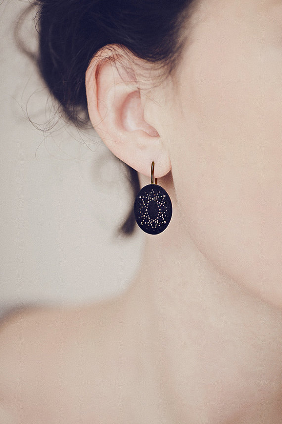 Onyx Dot Pattern Earrings in blackened silver by ChristinaPauls