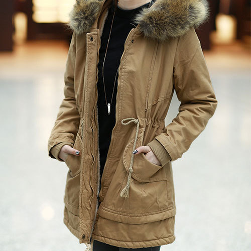 [grxjy560763]Drawstring Belted Hooded Padded Jacket Long Army Style Coat Parka / pgfancy- fashion online shopping mall