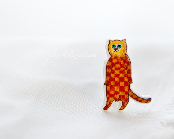 Standing Cat handmade brooch check Gingham red by YuliyaArt