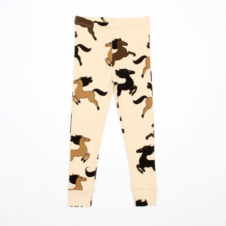MINI RODINI HORSE LEGGINGS BEIGE - Mini Rodini