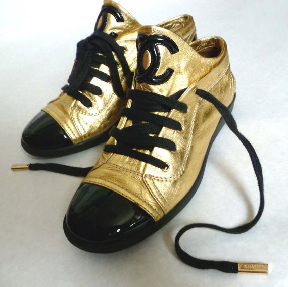 CHANEL / CHANEL Sneakers Gold and Black Patent Leather by BuddyBuddyVintage