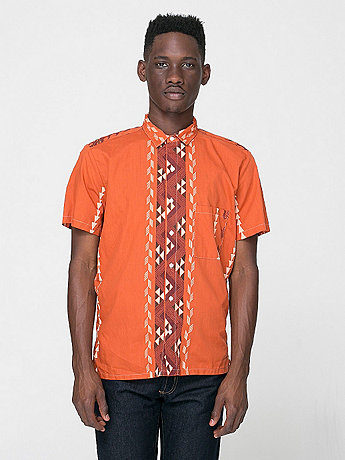 American Apparel - Tropical Short Sleeve Button-Up with Pocket