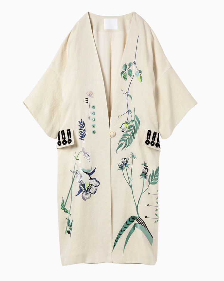Embroidered Pongee Coat - beige   mame
