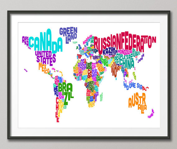 Typographic Text Map of the World Map Art Print 18x24 by artPause