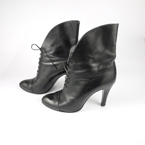 Gorgeous Black Leather Booties by MimiCocco on Etsy