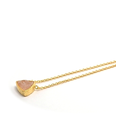 18K Gold Vermeil Raw Pink Quartz Necklace : Arylza - Serendipity, Online Shopping For Vermeil and 925 Sterling Silver Jewelry