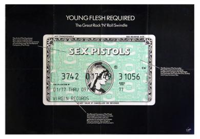 "SEX PISTOLS ""Young Flesh Required"" design by Jamie reid"