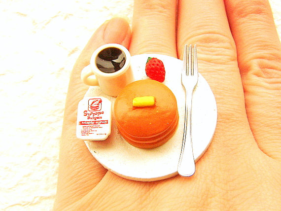 Miniature Food Ring Pancakes Coffee Cute Food by SouZouCreations