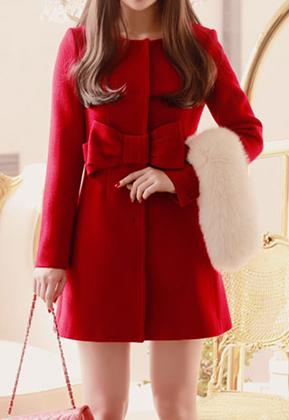 [grzxy6600365]European Style Elegant Bowknot Red Coat / shopbazar shopping mall