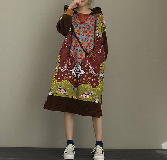 reddish brown Cotton Oversize Loose Long Hooded dress winter