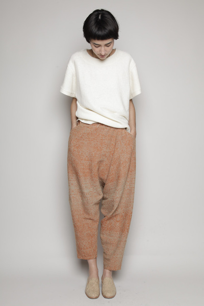 Totokaelo - Anntian - Drop Crotch Pant - Brown/Beige