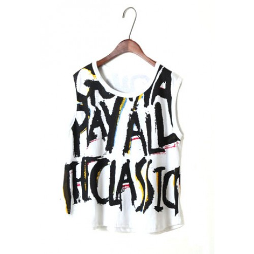 Street-chic Style Retro Letters Print Vest for big sale!