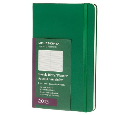 12 months - Colored Weekly Planner Horizontal - Oxide Green hard cover - Large - Moleskine ® English
