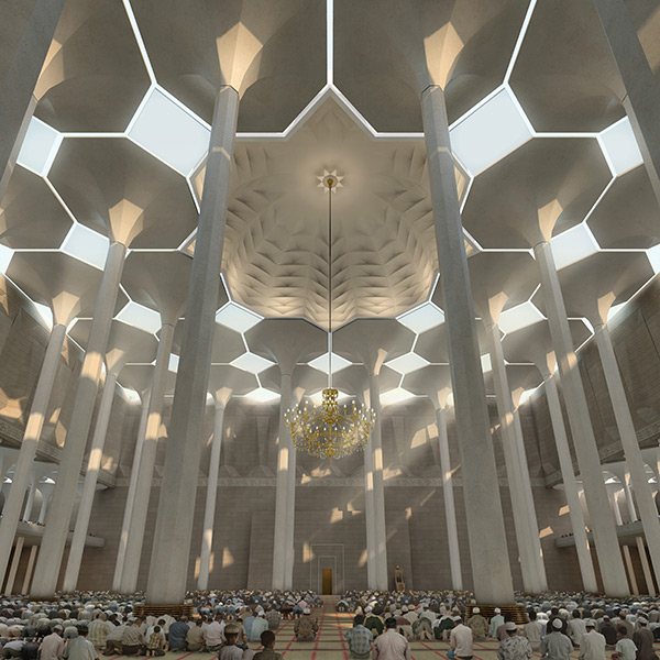 The unique double façade of the Prayer hall's dome allows sunlight into the interiors. Image courtesy of Macina, Hannover. - Image - Design Build Network