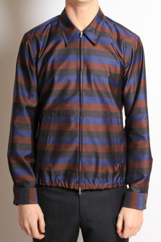 DRIES VAN NOTEN 'Clive' Shirt Jacket in Aubergine Stripe - JACKETS from Autograph UK