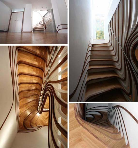 Dazzling Staircase Design in Curved Pattern Banisters and Balusters | Dream fun House