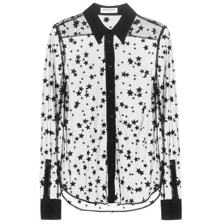 mytheresa.com - Embroidered shirt - Long-sleeved - Tops - Clothing - Saint Laurent - Luxury Fashion for Women / Designer clothing, shoes, bags