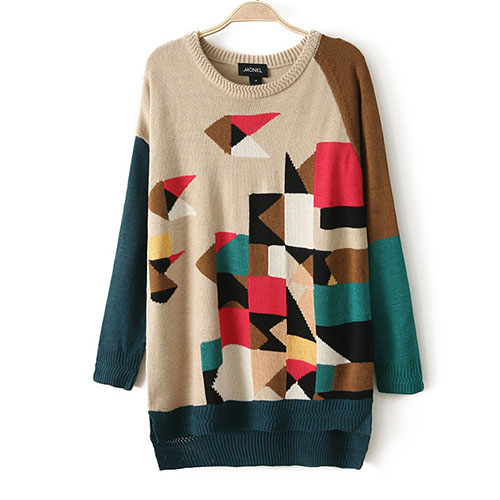 lulula-fashion shopping mall — [ghyxh3600856]Pop Style Cool Mixing Color Geometric Figure Print Knit Sweater