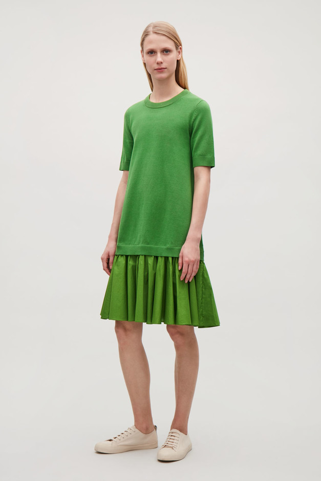 PANELLED COTTON KNIT DRESS - Green - Knitted dresses - COS GB