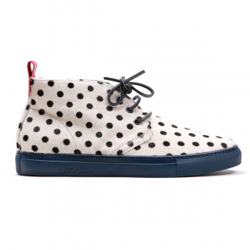 Men's Black and White Polka Dot Pony Hair Alto Chukka Sneaker - Sneaker - Men's