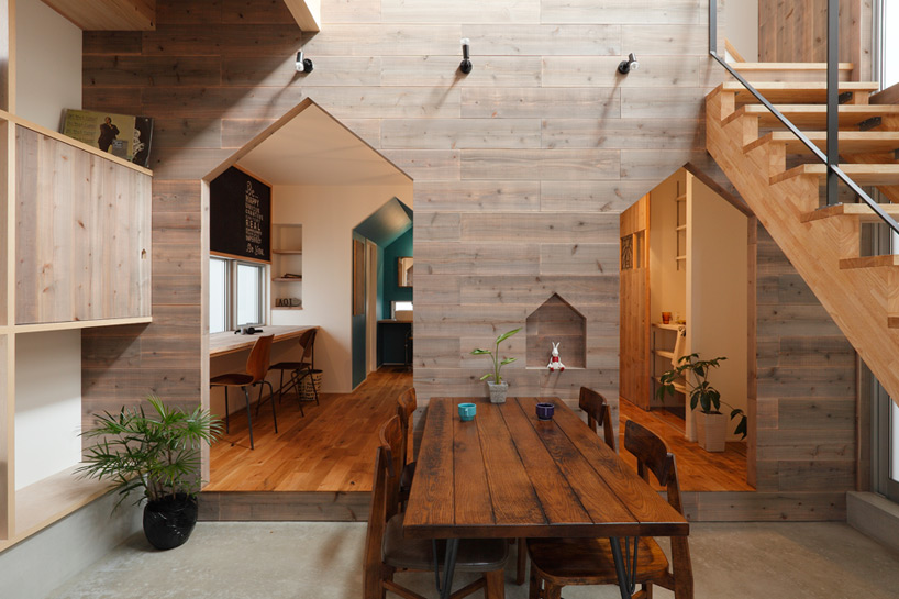 gabled forms continue inside hazukashi house by alts design office