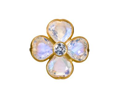 Marie-Helene de Taillac | Rainbow Moonstone and Sapphire Pensée Ring in Designers Marie-Helene de Taillac Rings at TWISTonline