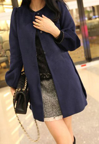 lulula-fashion shopping mall — [ghyxh3600841]Elegant Loose Fitting Pure Color Worsted Coat