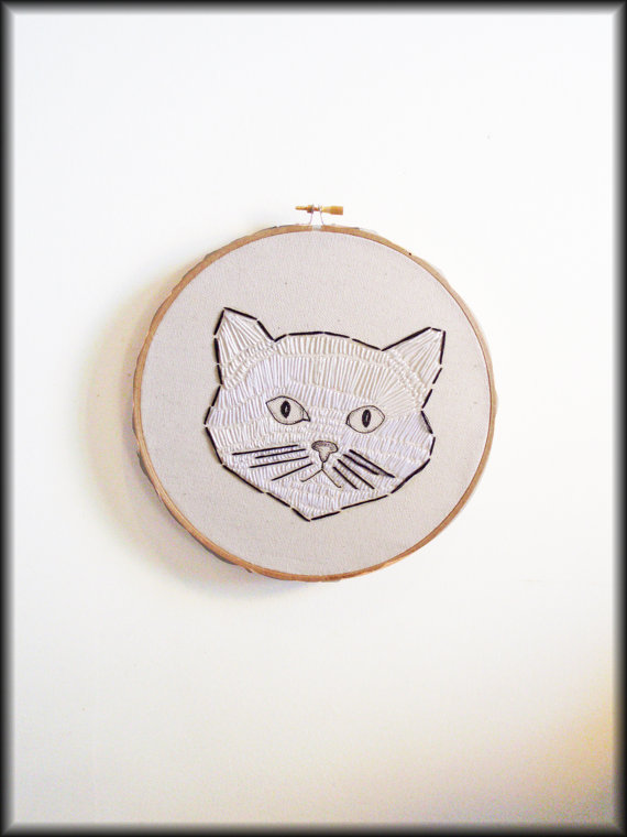 Black & white embroidered catOne of a kind by BrooklynCat on Etsy