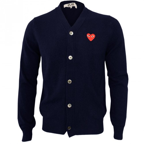 Comme Des Garcons PLAY Mens Red Logo Cardigan Navy | GarmentQuarter