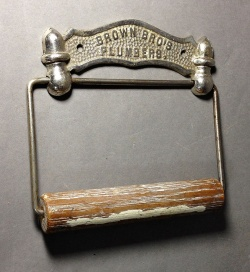 """Kitchen&Bathroom - 1880's N.Y. """"ADVERTISING"""" Cast Iron Toilet Paper Holder - FUNNY SUPPLY □ Antiques ■"""