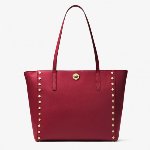 MICHAEL Michael Kors Rivington Large Studded Leather Tote Red