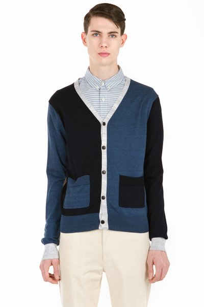 OPENING CEREMONY COLORBLOCKED V-NECK SWEATER - DEEP NAVY - MK38B - MEN - SALE - OPENING CEREMONY
